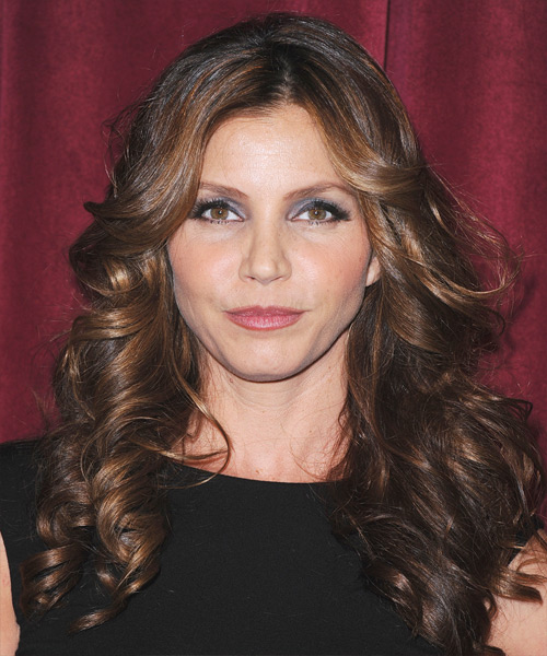 Charisma Carpenter Long Wavy Formal Hairstyle - Dark Brunette Hair Color