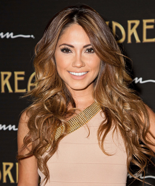 Jessica Burciaga Long Wavy Hairstyle - Medium Brunette (Copper)