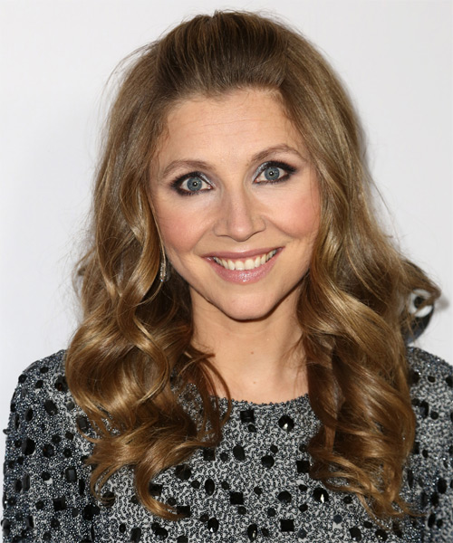 Sarah Chalke Half Up Long Curly Casual Half Up Hairstyle - Medium Brunette (Golden) Hair Color