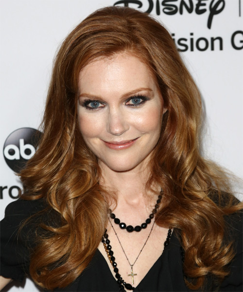 Darby Stanchfield Long Wavy Formal Hairstyle - Medium Brunette (Copper) Hair Color