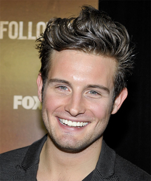 Nico Tortorella Short Straight Casual Hairstyle - Dark Brunette (Ash) Hair Color