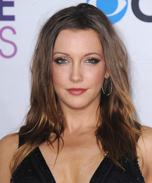 Katie Cassidy Long Straight Casual Hairstyle - Medium Brunette Hair Color