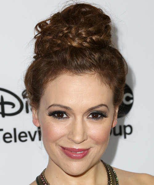 Alyssa Milano Curly Casual Updo Braided Hairstyle - Dark Brunette (Auburn) Hair Color
