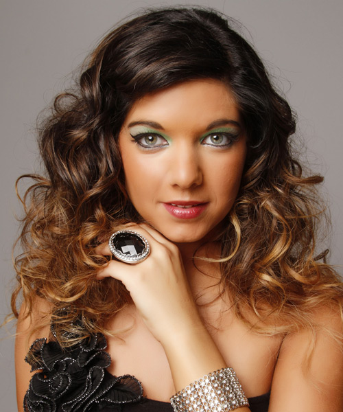 Long Curly Formal Hairstyle - Dark Brunette (Auburn)