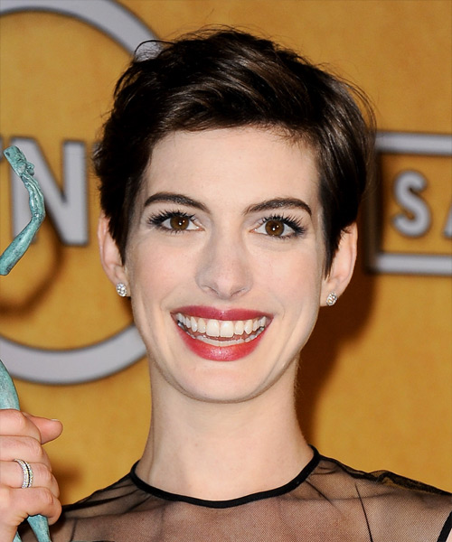 Anne Hathaway Short Straight Casual Hairstyle - Dark Brunette (Mocha) Hair Color