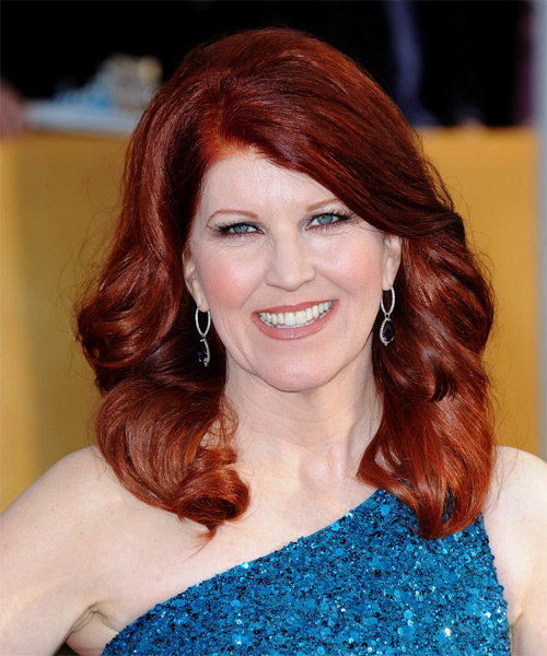 Kate Flannery Long Wavy Formal Hairstyle - Dark Red Hair Color