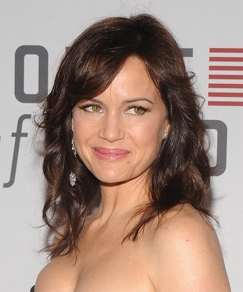 Carla Gugino Medium Wavy Casual Hairstyle - Dark Brunette (Chocolate) Hair Color