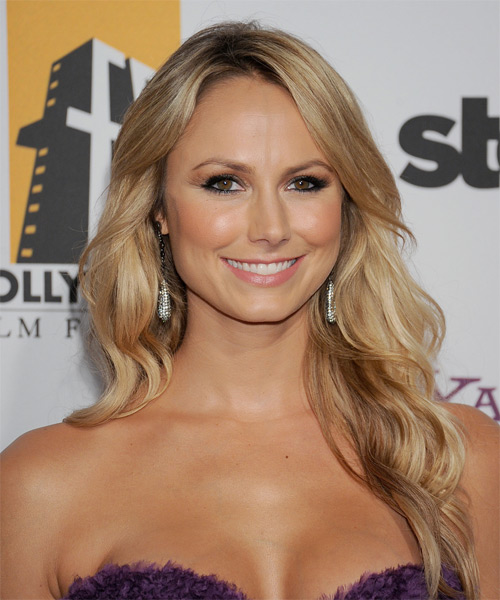 Stacy Kiebler Long Wavy Casual Hairstyle with Side Swept Bangs - Medium Blonde Hair Color