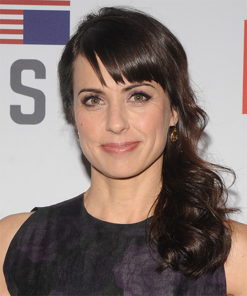 Constance Zimmer Curly Casual Half Up Hairstyle with Side Swept Bangs - Dark Brunette (Mocha) Hair Color