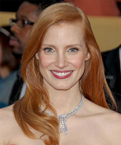 Jessica Chastain Long Straight Hairstyle - Medium Red (Ginger)