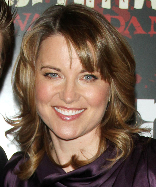 Lucy Lawless Medium Straight Casual Hairstyle - Dark Blonde Hair Color
