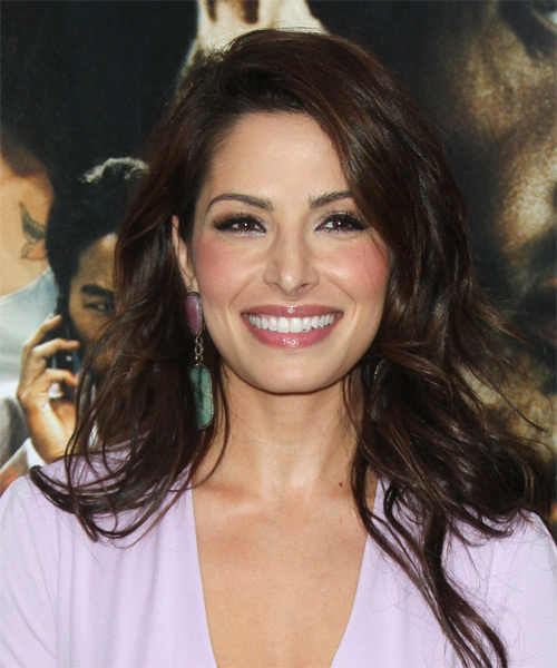 Sarah Shahi Long Straight Hairstyle - Dark Brunette (Mocha)