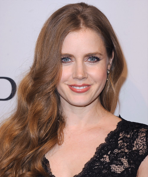 Amy Adams Long Wavy Casual Hairstyle - Medium Brunette (Auburn) Hair Color