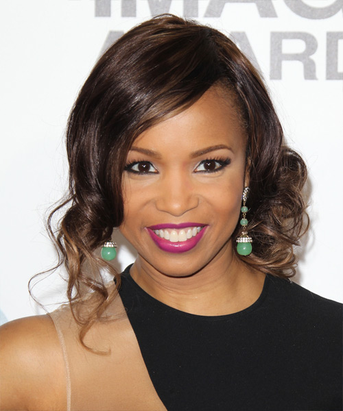 Elise Neal Curly Formal Updo Hairstyle - Dark Brunette (Mocha) Hair Color