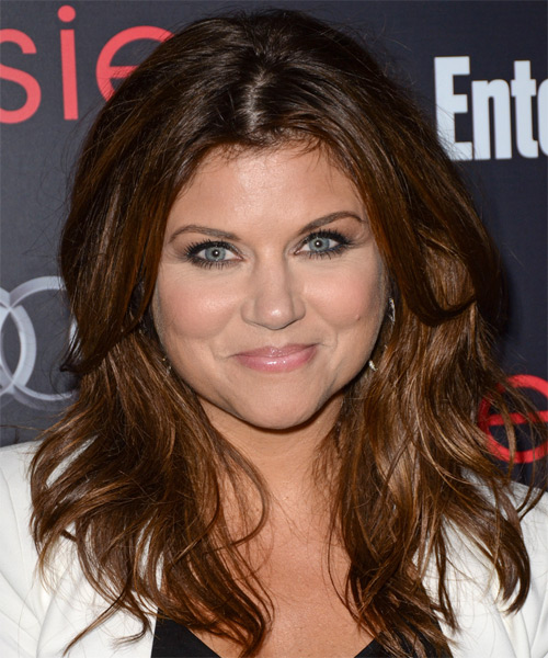Tiffani Thiessen Long Straight Casual Hairstyle - Medium Brunette (Auburn) Hair Color