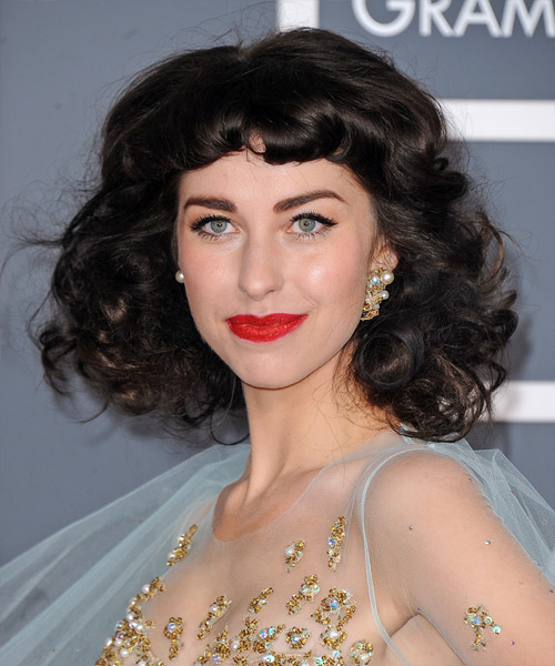 Kimbra Short Curly Formal Hairstyle with Blunt Cut Bangs - Dark Brunette Hair Color