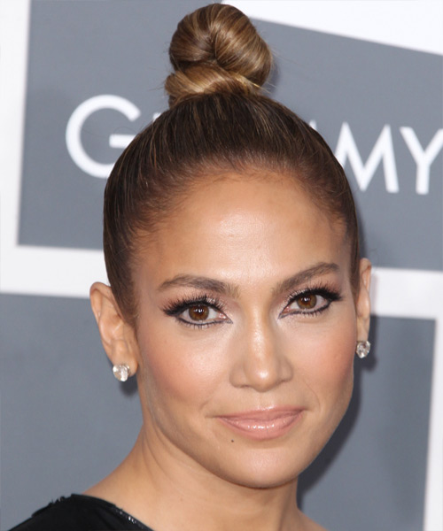 Jennifer Lopez Updo Long Straight Formal Updo Hairstyle - Medium Brunette (Caramel) Hair Color