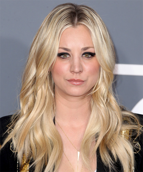Kaley Cuoco Long Wavy Casual Hairstyle - Light Blonde (Golden) Hair Color