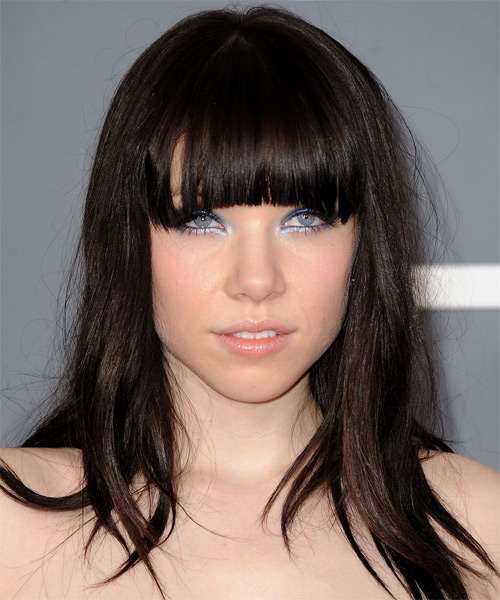 Carly Rae Jepsen Long Straight Casual Hairstyle with Blunt Cut Bangs - Dark Brunette (Mocha) Hair Color