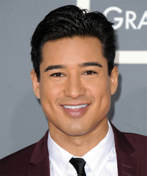 Mario Lopez Short Straight Formal Hairstyle - Black (Ash) Hair Color