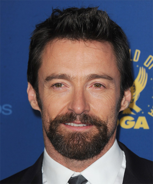 Hugh Jackman Short Straight Hairstyle - Black