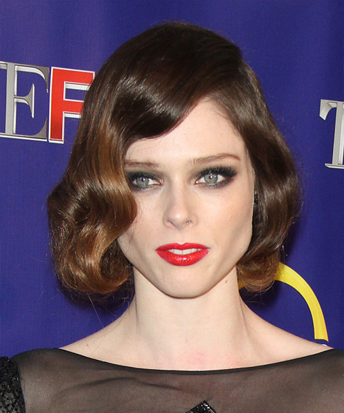 Coco Rocha Short Wavy Formal Bob Hairstyle - Dark Brunette Hair Color