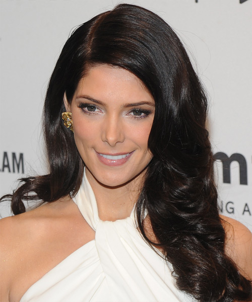 Ashley Greene Long Wavy Hairstyle - Dark Brunette (Mocha)