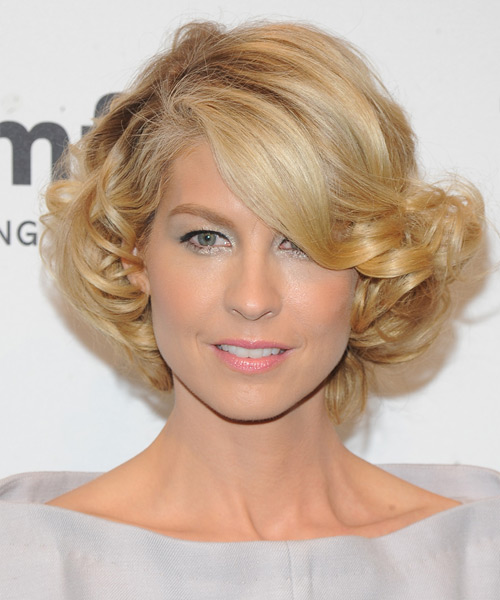Jenna Elfman Short Curly Formal Hairstyle - Medium Blonde (Honey) Hair Color