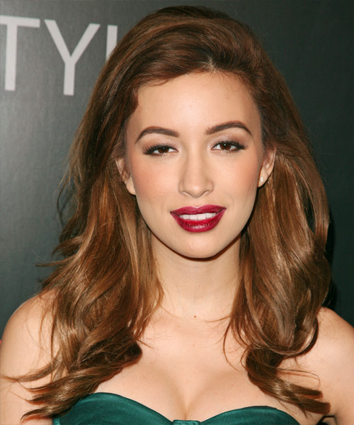 Christian Serratos Long Straight Casual Hairstyle - Medium Brunette (Auburn) Hair Color