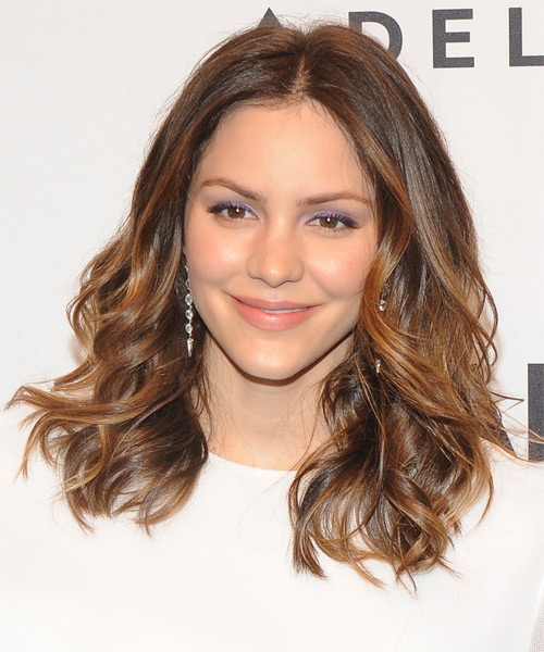 Katharine McPhee Medium Wavy Casual Hairstyle - Medium Brunette (Auburn) Hair Color