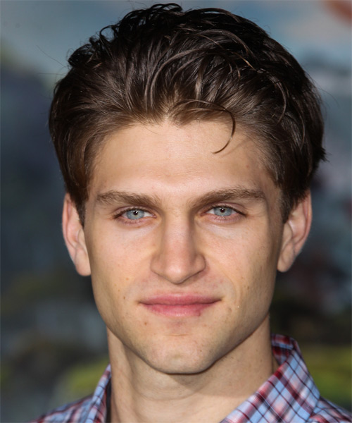 Keegan Allen Short Straight Casual Hairstyle - Dark Brunette (Mocha) Hair Color