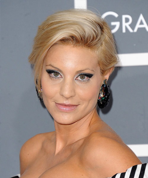 Lisa D Amato Short Straight Formal Hairstyle - Light Blonde Hair Color