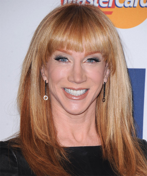 Kathy Griffin Long Straight Casual Hairstyle with Blunt Cut Bangs - Medium Red (Copper) Hair Color