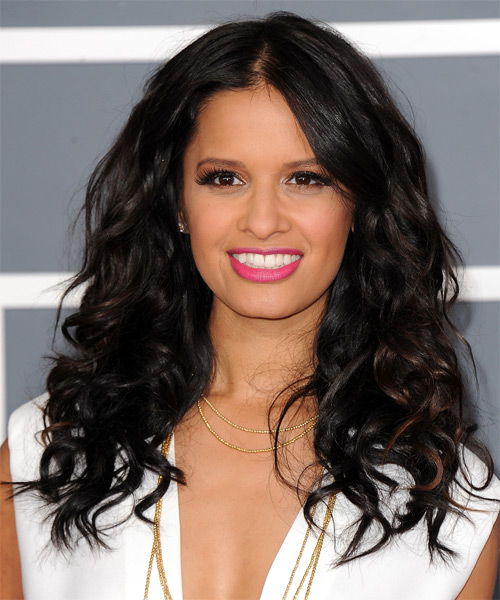 Rocsi Diaz Long Wavy Casual Hairstyle - Black Hair Color