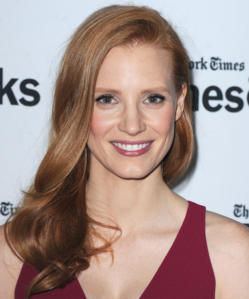 Jessica Chastain Long Straight Formal Hairstyle - Medium Red (Copper) Hair Color
