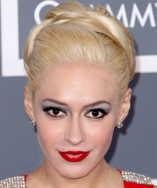 Kaya Jones Formal Straight Updo Hairstyle - Light Blonde