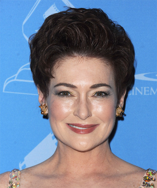 Carolyn Hennesy Short Straight Formal Hairstyle - Dark Brunette (Chocolate) Hair Color