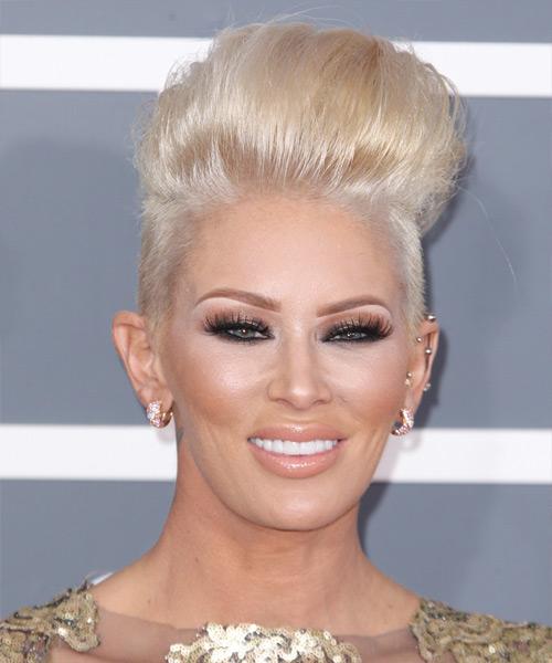 Jenna Jameson Short Straight Alternative Hairstyle - Light Blonde (Platinum) Hair Color