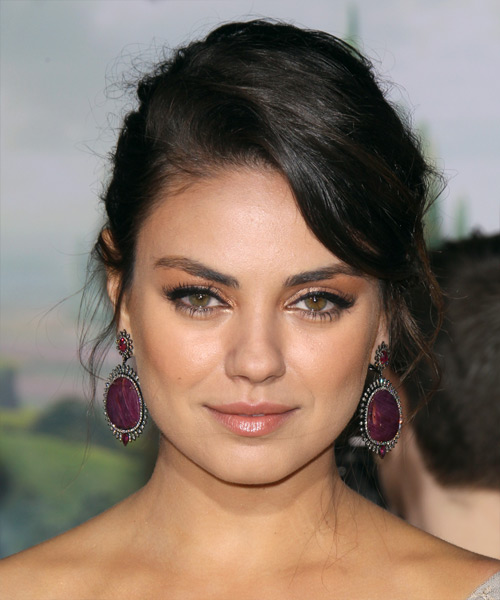 Mila Kunis Curly Casual Updo Hairstyle - Black Hair Color