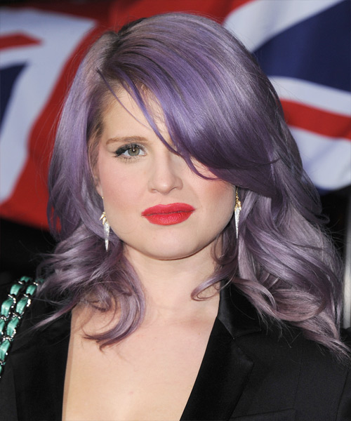 Kelly Osbourne Medium Wavy Hairstyle - Purple
