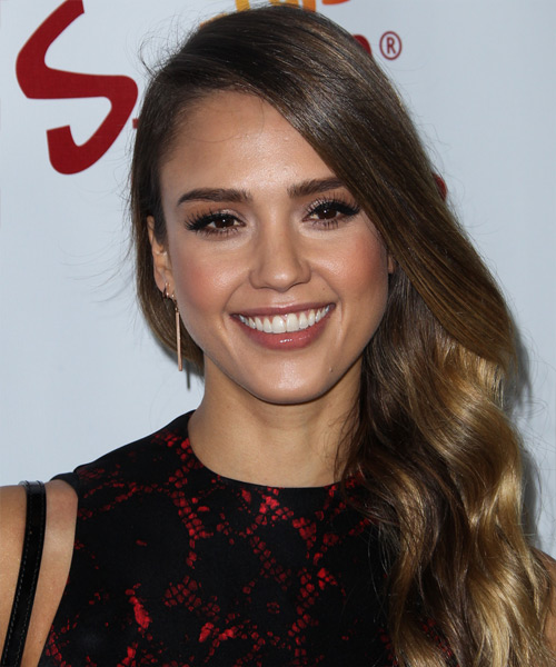 Jessica Alba Long Wavy Casual Hairstyle - Medium Brunette Hair Color