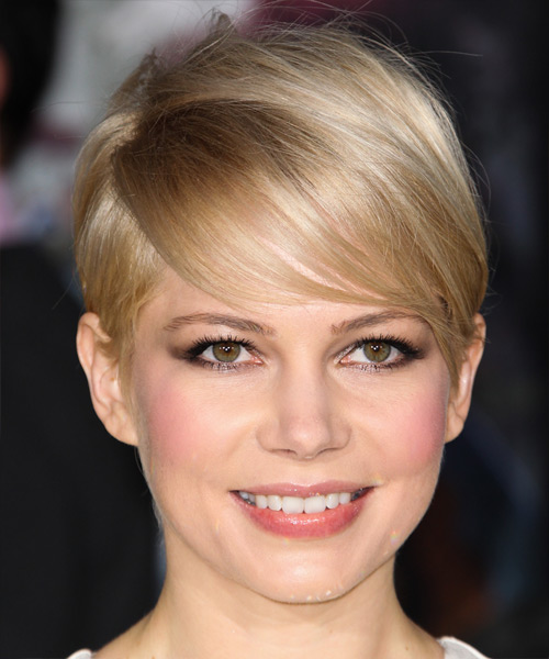 Michelle Williams Short Straight Formal Hairstyle with Side Swept Bangs - Light Blonde (Champagne) Hair Color