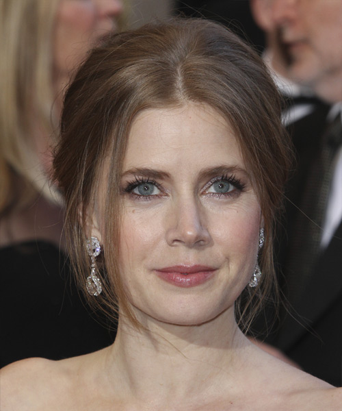 Amy Adams Straight Formal Updo Hairstyle - Light Brunette (Chestnut) Hair Color