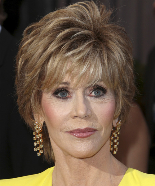 Jane Fonda Short Straight Hairstyle - Dark Blonde (Chestnut)