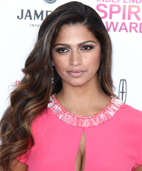 Camila Alves Long Wavy Hairstyle - Dark Brunette