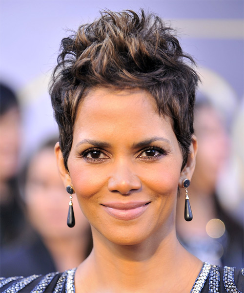 Halle Berry Short Straight Alternative Hairstyle - Dark Brunette Hair Color