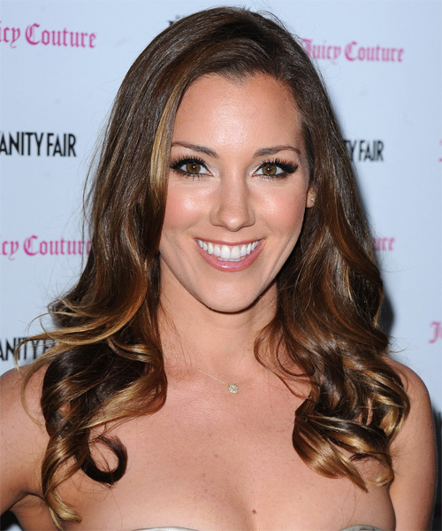 Carly Craig Long Wavy Formal Hairstyle - Medium Brunette (Chocolate) Hair Color