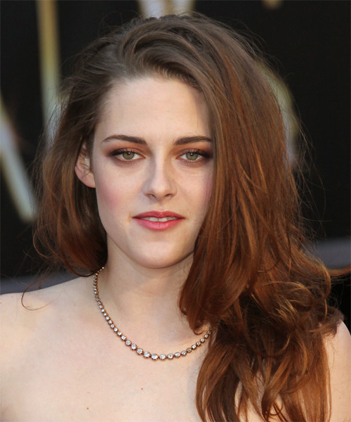 Kristen Stewart Long Straight Casual Hairstyle Auburn
