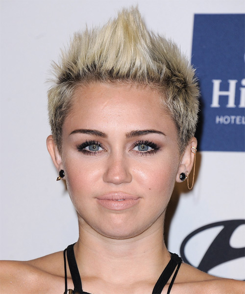Miley Cyrus Short Straight Hairstyle - Light Blonde