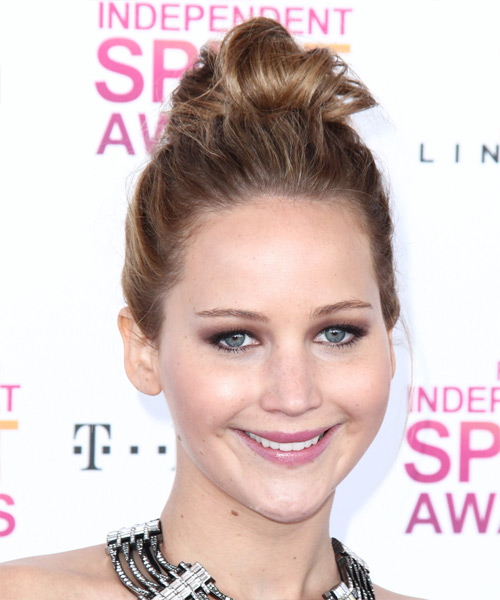 Jennifer Lawrence Straight Casual Updo Hairstyle - Light Brunette (Chestnut) Hair Color
